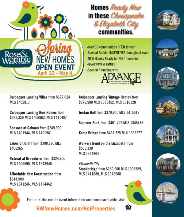 RW New Homes Open: Chesapeake and Elizabeth City Offer Great New Homes Ready for Move In
